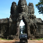 Driving through the entrance to amazing Angkor Wat!