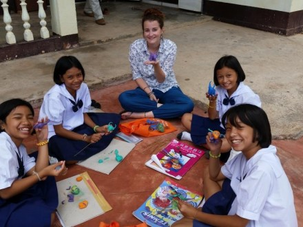Arts & Crafts with the kids at Baan Leam Hoy School, Koh Samui